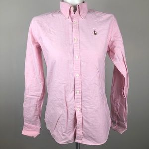 Ralph Lauren Slim Fit Pink Button Down Long Sleeve
